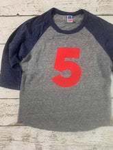 Load image into Gallery viewer, Raglan birthday shirt, birthday number, number shirt
