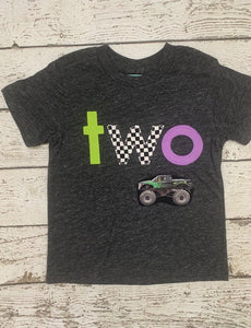 Monster Truck Shirt, race check, lime and purple monster truck Birthday Tee