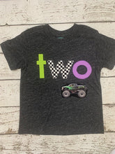 Load image into Gallery viewer, Monster Truck Shirt, race check, lime and purple monster truck Birthday Tee