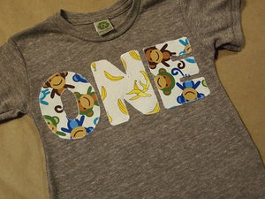Monkey Birthday Shirt Organic Blend Monkey and Banana print Birthday Tee also available with pink monkey pattern