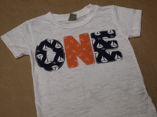 Nautical Theme Birthday Shirt Boat Tee on White Burnout Boys Birthday Shirt for birthdays one through four organic blend