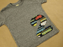 Load image into Gallery viewer, Cars Trucks Buses Race Car Birthday Shirt Organic Blend Tee Number Birthday Shirt