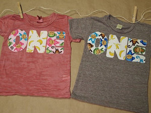 Monkey Birthday Shirt Organic Blend Monkey and Banana print Birthday Tee for girls and boys Great for Twins