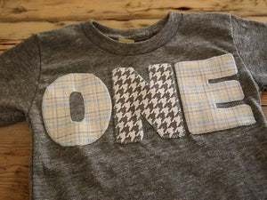 Light Grey and Blue Plaid and Houndstooth Shirt Birthday Tee Organic Shirt Blend first birthday shirt second third