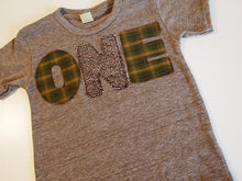 Load image into Gallery viewer, Green and Brown Plaid and Tweed Birthday Tee Organic Blend Shirt great first birthday second birthday