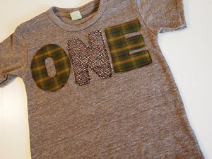 Green and Brown Plaid and Tweed Birthday Tee Organic Blend Shirt great first birthday second birthday