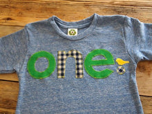 Load image into Gallery viewer, Green corduroy and blue gingham Tshirt Bird Detail Birthday shirt Customize colors Boys Girls Organic Blend Birthday Tee first second