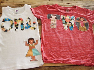 Luau Birthday Shirt Girls Hula Girl Print first birthday second third Burnout Tee Hawaiian theme party adorable with tutu