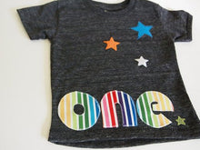 Load image into Gallery viewer, Rainbow Stripes and Stars Birthday Tee Organic Blend Colorful Birthday Shirt first birthday etc customize
