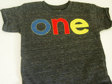 Load image into Gallery viewer, lowercase Primary Colors Birthday Tee Organic Shirt Blend first birthday shirt photo prop