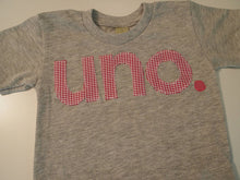 Load image into Gallery viewer, girl's first birthday shirt, uno birthday