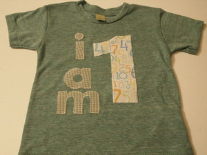 I AM 1 Birthday Tee Organic Shirt Blend boys girls birthday shirt first birthday second etc houndstooth numbers