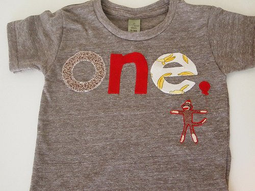 Sock Monkey Detail Birthday shirt Customize colors Boys Girls Organic Blend Birthday Tee first second etc birthda