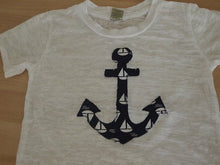 Load image into Gallery viewer, Nautical Children's Tee Anchor in Sailboat print Boat Tee on White Burnout Boys Navy and white