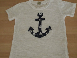 Nautical Children's Tee Anchor in Sailboat print Boat Tee on White Burnout Boys Navy and white