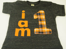 Load image into Gallery viewer, Halloween Shirt Orange and Black Plaid birthday shirt first birthday tee