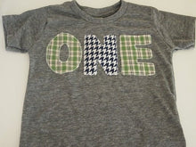 Load image into Gallery viewer, Blue Green and Yellow Plaid and Houndstooth Shirt Birthday Tee Organic Shirt Blend first birthday shirt second third