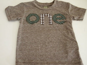 Chevron Birthday Tee Organic Shirt Blend Brown and teal turquoise first birthday second