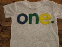 Load image into Gallery viewer, Primary Colors Birthday Tee Organic Shirt Blend Blue Green Yellow first birthday second etc