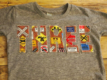 Load image into Gallery viewer, Train Birthday Shirt, train party, train signals