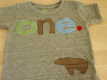 Load image into Gallery viewer, green brown and light blue Tshirt Bear Detail Birthday shirt Customize colors Boys Girls Organic Blend Birthday Tee first second etc birthda