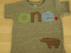 green brown and light blue Tshirt Bear Detail Birthday shirt Customize colors Boys Girls Organic Blend Birthday Tee first second etc birthda