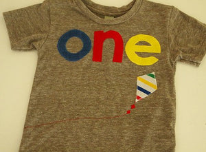 Birthday Tee with kite or balloon detail Organic Shirt Blend perfect for boys or girls first second third fourth birthday