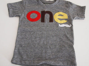 Mustache shirt Customize colors Boys Girls Organic Blend Birthday Tee first birthday second etc childrens mustache tee