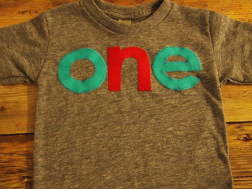 Turquoise and Red lowercase one Birthday Tee Organic Shirt Blend first birthday shirt