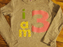 Load image into Gallery viewer, I AM Birthday Tee Organic Shirt Blend boys girls birthday shirt first birthday second pink yellow lime customize colors