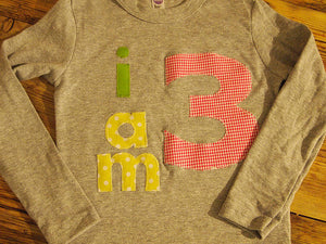 I AM Birthday Tee Organic Shirt Blend boys girls birthday shirt first birthday second pink yellow lime customize colors