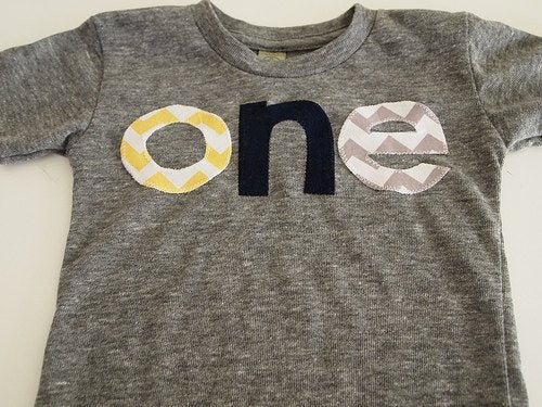 Yellow Grey Navy Chevron Birthday Tee Organic Shirt Blend first birthday second childrens tshirt