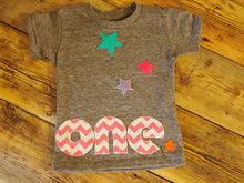 Load image into Gallery viewer, Colorful chevron and Stars Birthday Tee Organic Blend Colorful rainbow Birthday Shirt first birthday etc customize