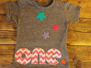 Colorful chevron and Stars Birthday Tee Organic Blend Colorful rainbow Birthday Shirt first birthday etc customize