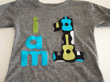 Load image into Gallery viewer, Guitar music themed birthday Shirt Organic Shirt Blend customize colors boys birthday shirt first birthday and up