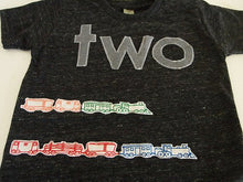 Load image into Gallery viewer, Train Shirt Birthday Tee Organic Blend Black Shirt Train Birthday Vintage train choo choo