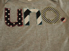Load image into Gallery viewer, Black and white Birthday Tee polka dot chevron houndstooth Organic Shirt Blend first birthday shirt first birthday shirt uno one dos etc