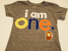 Load image into Gallery viewer, i am 1 one Birthday shirt Lion detail Customize colors Boys Girls Organic Blend Birthday Tee first birthday shirt, circus party