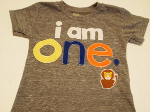 i am 1 one Birthday shirt Lion detail Customize colors Boys Girls Organic Blend Birthday Tee first birthday shirt, circus party