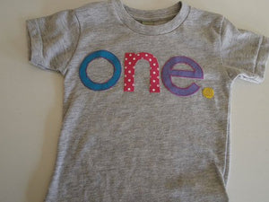 one simple heathered girls Birthday Tee polka dot pink  yellow purple Organic Shirt Blend first birthday shirt first birthday shirt