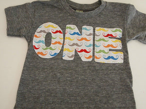 Mustache Birthday shirt primary colors boys tshirt mustache first birthday second etc