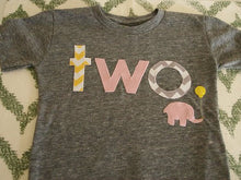 Load image into Gallery viewer, yellow pink and grey girls birthday shirt chevron elephant design girls birthday tee first birthday organic blend shirt