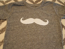 Load image into Gallery viewer, Children's mustache tee heather grey tee with mustache applique organic blend infant  toddler youth sizes 3/6 month and up