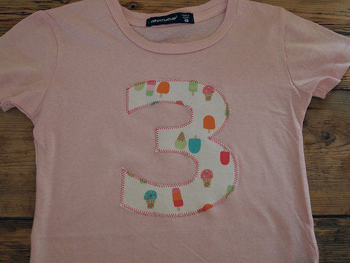 Girls Birthday Shirt Ice Cream Organic Blend Tee pink