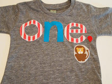 Load image into Gallery viewer, Birthday shirt Lion detail carnival party circus Customize colors Boys Girls Organic Blend Birthday Tee first birthday shirt