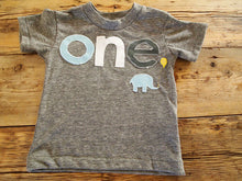 Load image into Gallery viewer, Custom birthday shirt light blue and grey elephant design Customize colors Boys Girls Organic Blend Birthday Tee first birthday shirt