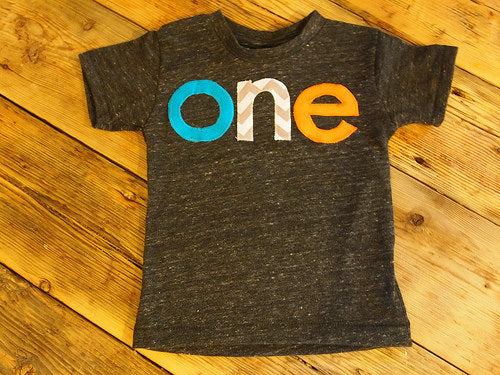 Turquoise orange and grey chevron Birthday Tee Organic Blend Colorful Retro Birthday Shirt first birthday etc customize chevron polka dot