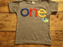 Load image into Gallery viewer, balloon shirt lowercase Primary Colors Birthday Tee Organic Shirt Blend first birthday shirt photo prop