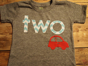 Car Birthday Tee Organic Blend grey Shirt Boys Birthday Shirt little red car chevron