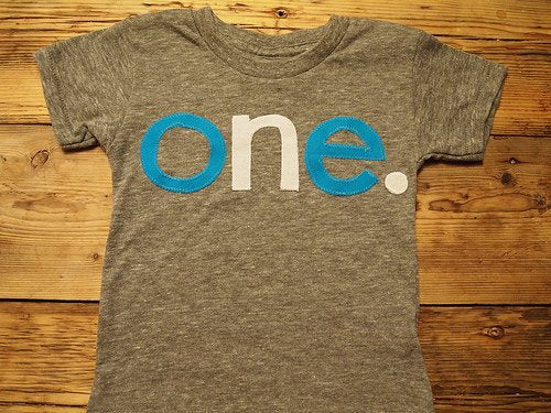 Blue and white lowercase one Birthday Tee Organic Shirt Blend first birthday shirt available for any birthday